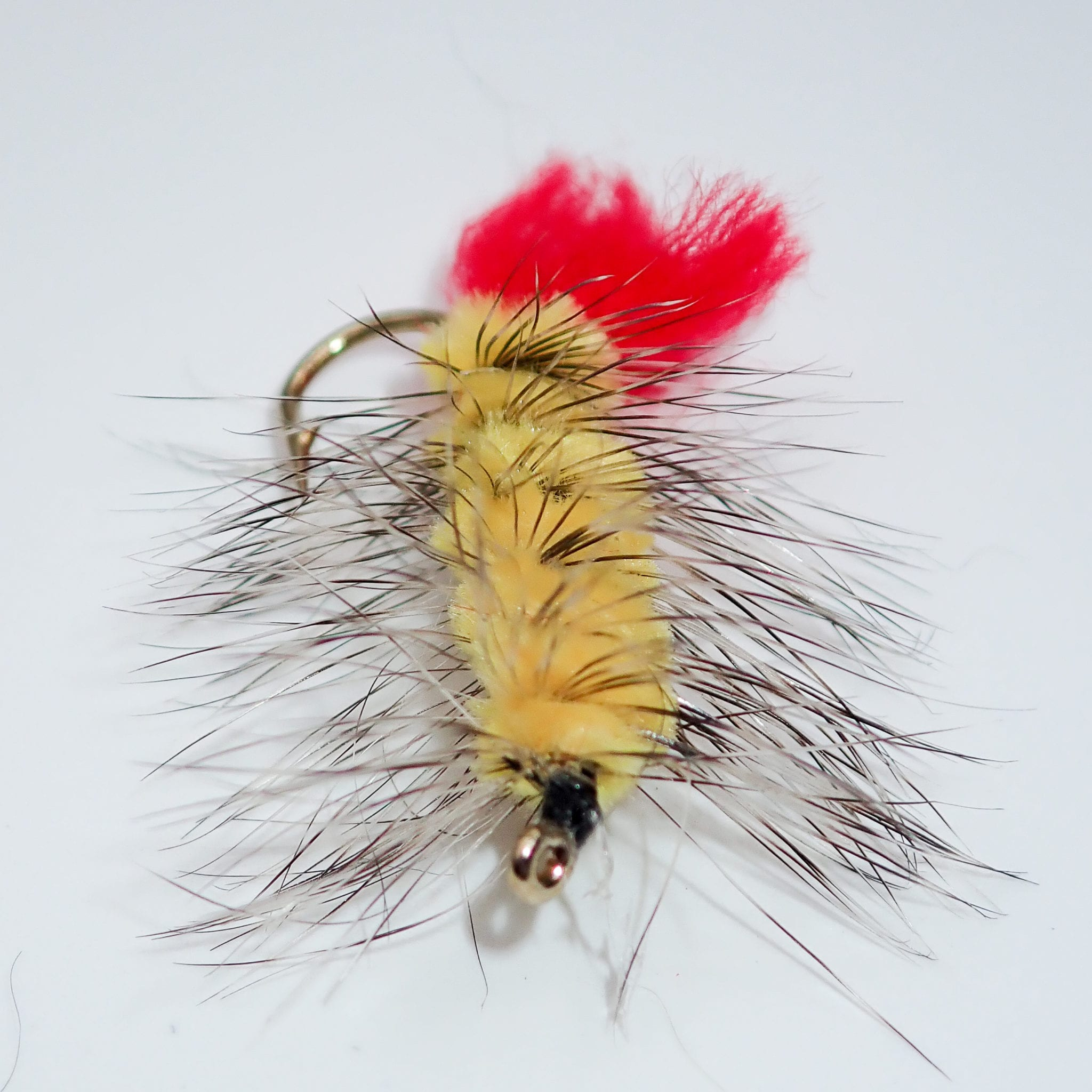 12 LIGAS YELLOW WOOLY WORMS SIZE 10 FLY FISHING FLIES  STREAMERS