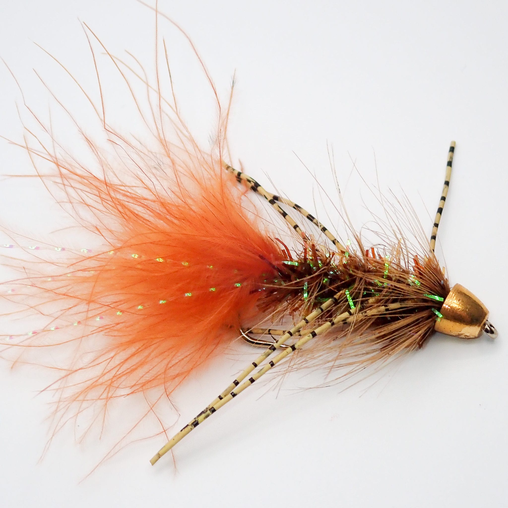 per 3 Woolly Bugger Orange Bead Head Size 6